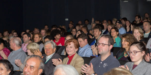 Trish Rigdon in the audience at a film screening